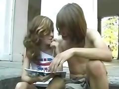 college girl couple fucks outdoor. Shaved cunt.