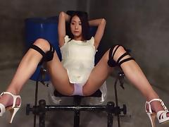 Cuffed and collared Japanese girl fingered and fucked