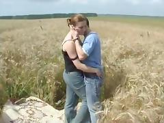 Mature Martha fucks in the field
