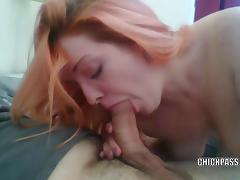 Redhead hottie Danika is on her knees and sucking dick