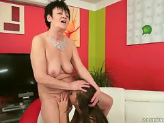 Fresh lesbian chick fools around with a granny slut and eats her out