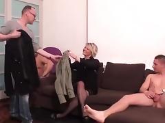 sexy blonde MILF gets gangbanged