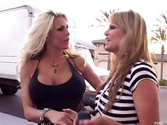 Milf meets a slut at the gas station for her husband to fuck