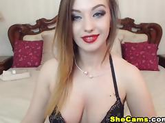 Beautiful Shemale with Big Tits Plays Naughtily on Cam