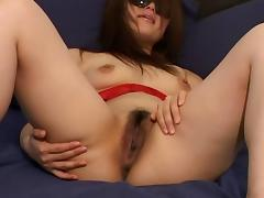 Red lace is so pretty on this horny Asian cock whore