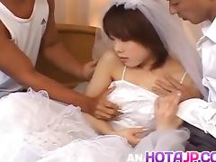 Morimoto Miku is undressed of bride outfit and fucked in hol