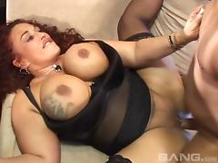 Massive tits and ass babe fucked balls deep in her wet cunt