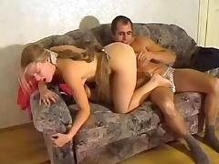 Young amateur couple on camera