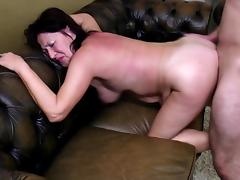 Grandma takes young cock in old wet holes