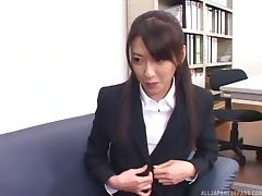 Undressing his sexy Japanese secretary and getting his dick sucked