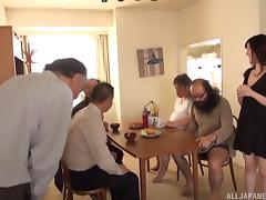 Dirty old men lick and finger a Japanese cutie after breakfast