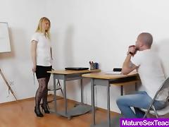 Dirty teacher spanks his ass and offers a nice handjob