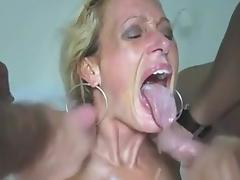 Amateur - Mature MMF Threesome CIM Facials