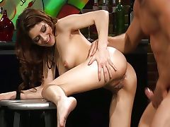 With cutie Lexi Bloom in a bar