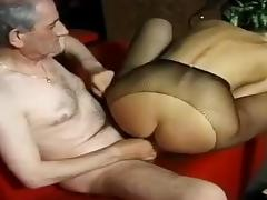 Old man fucking a blonde slut in a bar