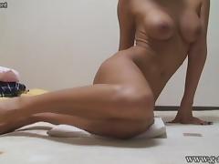 Hidden camera Japanese girl's naked exercise