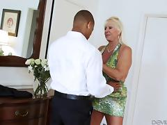 Grandma and a black guy have great interracial sex