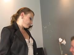 Skinny cougar seductress fucked in her bald pussy