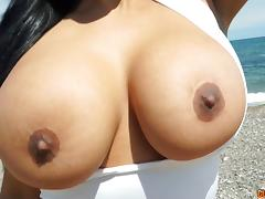 Beach beauty with fantastic big tits fucked by a fat cock