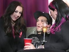 Fun behind the scenes action with tattooed punk pornstars