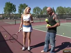 Crazy hot tennis chick is happy with a big dick inside her