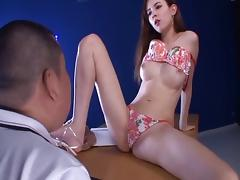Immaculate Japanese vixen being screwed hardcore after giving a foot job