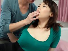 Fondling and sucking her Japanese titties and fucking her