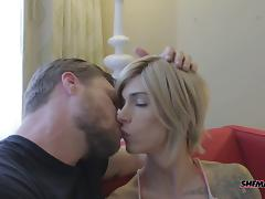 Big bareback dick fucks a beautiful tranny with sexy tits