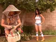 Slutty gardening Latina girl fucked as a milf watches