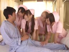 Slutty Japanese nurses fucking him in a fivesome