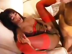 Sexy girl in red lingerie