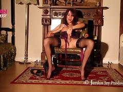 Blazing brunette shemale drilling a pussy toy as she moans in pleasure