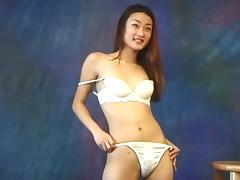 Slender Asian underwear model has a nice bush to show you