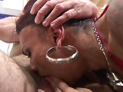 Lush Latin tranny with huge tits and a tight perfect ass enjoying hardcore interracial sex