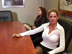 Threesome on the office conference table with sluts
