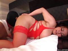 Fat Asian girl with big boobs rides the dick of her masked partner