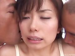 Charming Hina Hinami having the best threesome of her life