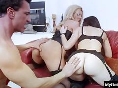 Threesome, Ffm, Hardcore, Lingerie, Stockings, Threesome