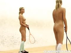 Sporty lesbian duo enjoys a pussy toying session on the court