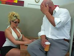 Bimbo secretary with a tramp stamp fucked in the office