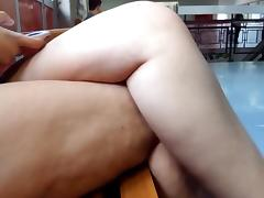 Crossed legs at college usp very hot