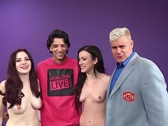 Skinny tattooed amateur guy and two pornstars fucking