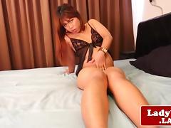 Chubby sensual ladyboy wanks her uncut dick