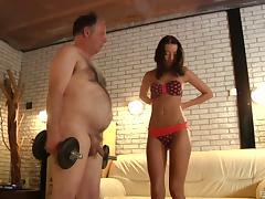 Smoking hot bikini girl has sex with a horny grandpa