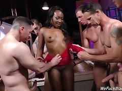 Unforgettable black senorita is banged hard by the horny white guys