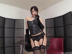 Mind-blowing Japanese maid in leather clothes and the rough poking