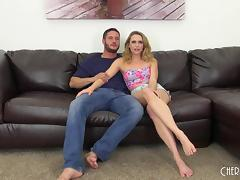 Lovely blonde gives him a footjob then lets him pound the pussy