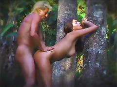 Asian nymph licked and fucked outdoors against a tree