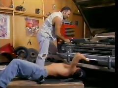Sexy bear mechanic and a muscular hottie hook up