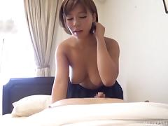 Short-haired girlfriend would like to take cock into her Asian cunt